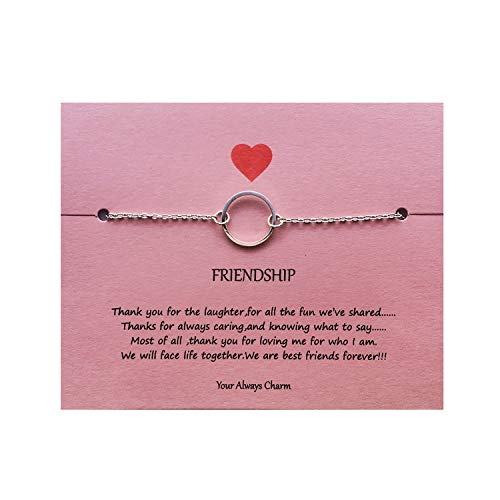 Your Always Charm Open Circle Link Bracelet,Endless Friendship Bracelet with Gift Card (Silver)
