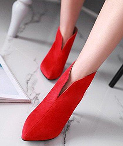 Sexy SHOWHOW Heel On Ankle Toe Slip Kitten Pointy Waterproof Red Women's Booties BRwxrnBTU