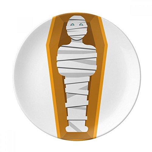 Egypt Mummy Coffin Illustration Pattern Dessert Plate Decorative Porcelain 8 inch Dinner Home ()