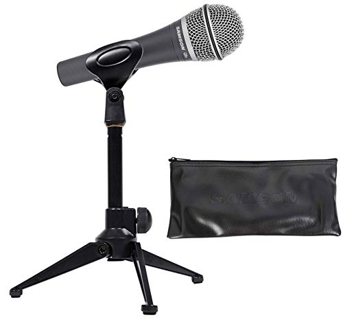(SAMSON Q8x Professional Microphone+Desktop Tripod Mic Stand+Clip+Carry Bag)