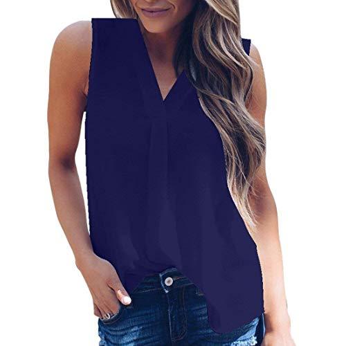 Haut Manche Elgante Femme Mousseline Baggy Cou Shirts sans V Shoulder Legere Costume Manches Chic Blau Off Fashion Oversize Debardeur Loisir Uni Et Rw7Cxxq