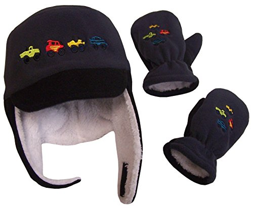 N'Ice Caps Little Boys and Baby Sherpa Lined Fleece Embroidered Hat Mitten Set (2T-4T, Black/Charcoal)