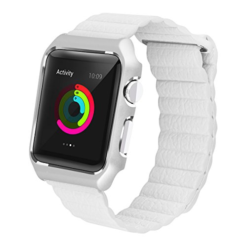 LikeItY Magnetic Milanese Loop Band for Apple Watch 42mm - Replacement Strap Band with Stainless Steel Metal Case for iWatch Series 3 Series 2 Series 1 (LLC-White, 42-MM)