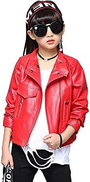 LAVIQK Girls Fashion PU Leather Motorcycle Jacket Children's Outerwear Slim Coat 2-12 Y