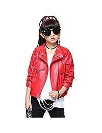 LAVIQK Girls Fashion PU Leather Motorcycle Jacket Children's Outerwear Slim Coat 2-12 Years