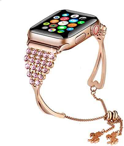 KARBYE Iwatch Bands 38mm 40mm Womens Rose Gold for Series 5/4/3/2/1, 38mm 40mm Compatible for Apple Watch Band Women Rose Gold, Bling Bracelet Band Dressy Metal Jewelry Bangle Cuff Wristband