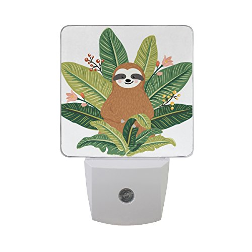 Naanle Set of 2 Cute Baby Sloth Tropical Banana Leaves Auto Sensor LED Dusk to Dawn Night Light Plug in Indoor for Adults