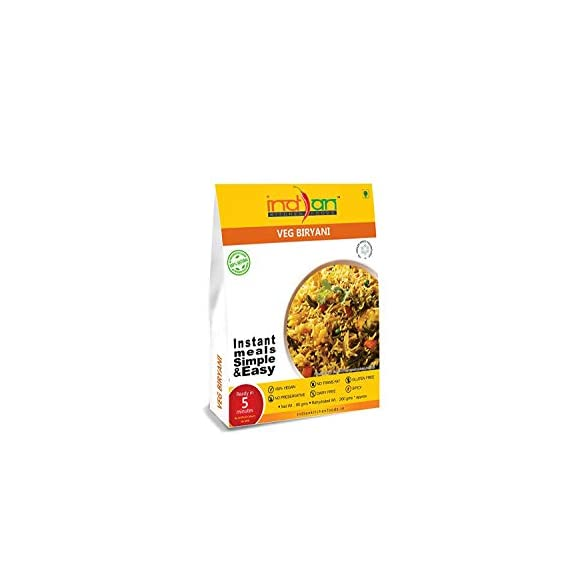 Indian Kitchen Foods Freeze Dried Gluten-Free Ready to Eat Veg. Biryani | Instant Vegetarian/Vegan Meal- Each Rehydrated Wt. 260 gm (Pack of 3)