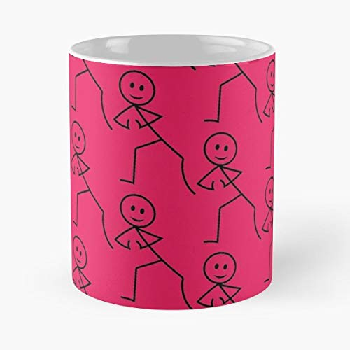 Comic Style Cartoon Figure Stick Figures - 11 Oz Coffee Mugs Unique Ceramic Novelty Cup, The Best Gift For Holidays. ()