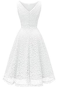 Bbonlinedress Women's Short Floral Lace Bridesmaid Dress V-Back Sleeveless Formal Cocktail Party Dress