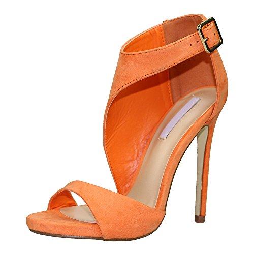 OCHENTA Mujer Plataforma Tacón Estilete Sandalia Vestido Naranja Claro