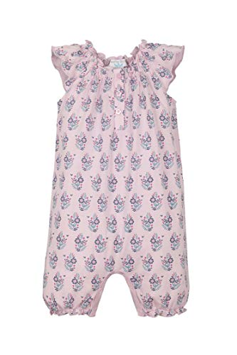 Feather Baby Girls Clothes Pima Cotton Angel Sleeve One-Piece Shortie Sunsuit Bubble Baby Romper (6-9 Months, Samantha on Pink) ()