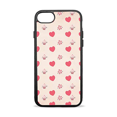 KEAKIA Cup Cake Hearts iPhone Case Soft TPU Rubber Skin Slim Protective Cover for (iPhone 7/8/Plus) ()