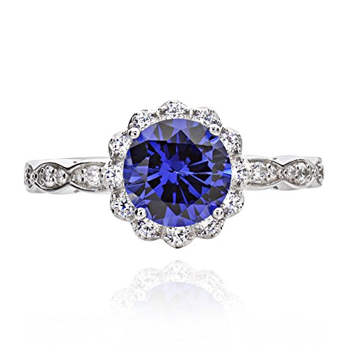 GemsChest Sterling Silver 2 Ct Round Shaped Created Blue Sapphire & Cubic Zirconia Halo Ring Sz ()