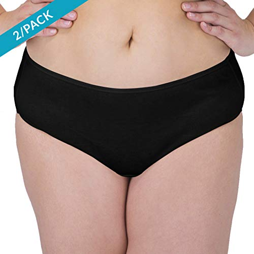 Cottonique Womens Latex-Free Waist Brief Made from 100% Organic Cotton (2/Pack   Black)