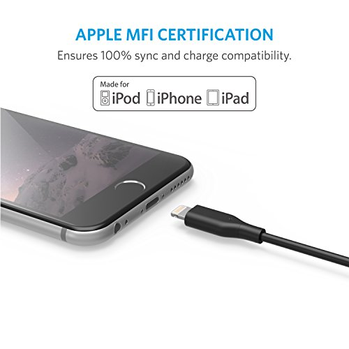 Anker Powerline 1ft Lightning Cable, MFi Certified for iPhone X / 8/8 Plus 7/7 Plus / 6/6 Plus / 5S (Black)