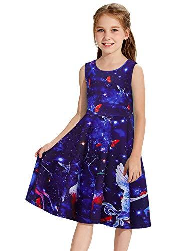 Funnycokid 3D Galaxy Unicorn Dress Sleeveless Swing Skirt Casual Kids Flare Party Dresses 8-9 Years Old -
