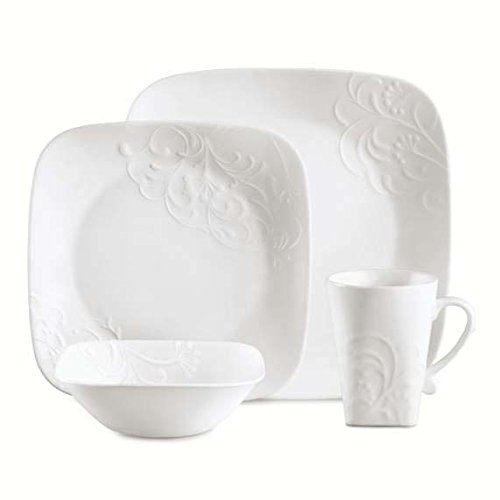 Corelle Boutique Square Cherish 16-Piece Dinnerware Set, Service for 4 (Corelle Embossed Dinnerware)