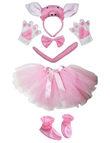 Petitebella 3D Headband Bowtie Tail Gloves Skirt Shoes 6pc Girl Costume (3D Pink Pig) -
