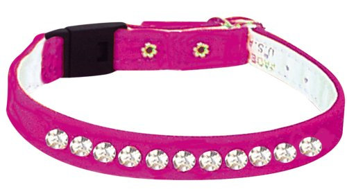 Pet Supply Imports Velveteen Jeweled Break Away Cat Collar, Pink, 10-Inch