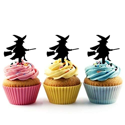 Witch on Broomstick Halloween Silhouette Acrylic Cupcake Toppers 12 pcs]()