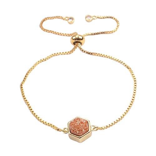 Champagne Quartz Bracelet - ZENGORI 1Pcs Gold Plated Bezel Hexagon Champagne Titanium Druzy Adjustable Bracelet for Women ZG0220-5