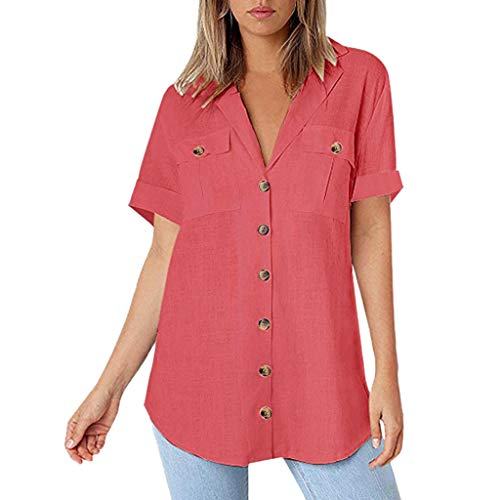 One promise Women Linen Pocket T-Shirt Turn-Down Collar 3/4 Sleeve Button Loose Plain Blouse Hot Pink