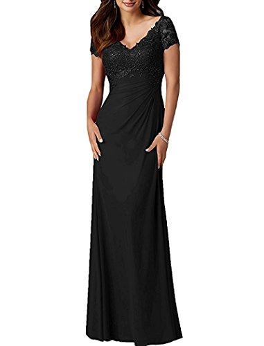Spitze Charmant Kurzarm Abendkleider Schwarz Damen V ausschnitt Festlichkleider Rock Brautmutterkleider Partykleider A Lang linie r5qxrIB6wn