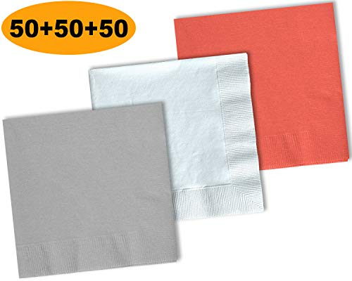 150 Beverage Napkins, Shimmering Silver, Bright White, Coral - 50 Each Color. 2 Ply Paper Cocktail Napkins. 5