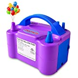 chamvis Portable Balloon Pump Electric Air Inflator/Blower with Dual Nozzles for Party Balloon Arch Decoration 110V Purple 600W US Standard Plug