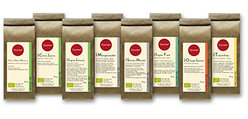 Tee Geschenkset Probierset Biotee Quertee® Nr. 1 - 8 x 25g Bio Tee - Tee Geschenk