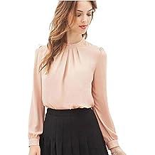 2018 Women Summer Blouse Fold Casual Shirt Chiffon Long Sleeve Tops TOPUNDER