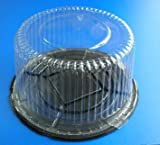 Cakesupplyshop 12inch Cake Double Layer Clear Cake Container Dome and Base Carry & Display Storage Box - 10pack