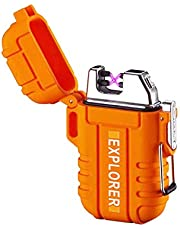 Plasma Lighter Waterproof Windproof Electronic Dual Arc USB Rechargeable flameless Lighter (Supreme Black/Camo Green/Orange)