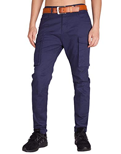 - ITALY MORN Men's Chino Cargo Tapered Casual Pants 40 Midnight Blue