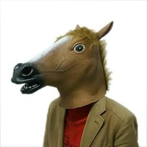 Accoutrements - Máscara de caballo loco, disfraz de caballo de goma para la cabeza, marrón