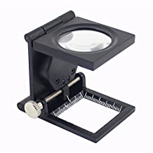PROW 8X Three Folding Magnifying Glass Portable Zinc Alloy LED Illuminate Magnifier Focusing Loupe with Scale for Textile Jewelry Collection Repair(Black)