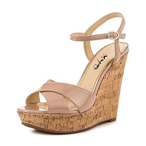 XYD Comfort Platform Cork Wedges Slingback Shoes Peep Toe Sandals Ankle Strap High Heels for Women Size 8 - Cork Platform Sandals