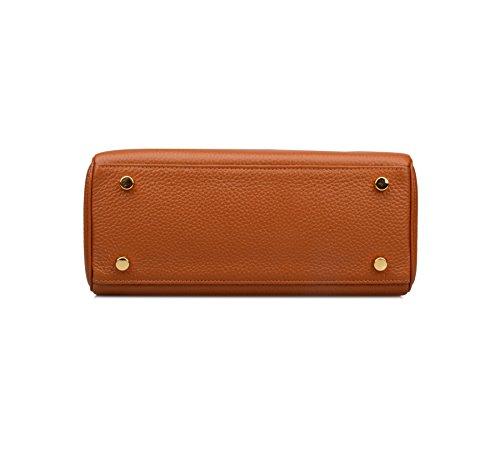 Ainifeel Women's Padlock Shoulder Handbags Hobo Bag (28cm, Brown) by Ainifeel (Image #6)