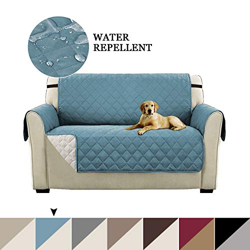Turquoize Luxurious Reversible Loveseat Covers, Quilted Couch Cover Furniture Protector Water Resistant with Elastic Strap Stain Resistant Sofa Cover for Pets/Dogs/Cats (Loveseat: Smoke Blue/Beige)