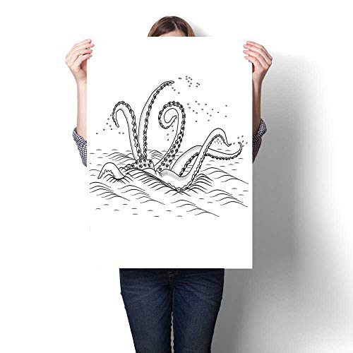 Price comparison product image Modern Painting, Myth Legend Creature Tentacles on The Sea Wave Fantasy Sketchy Illustration Black White Painting, Home Decor Oil on Canvas