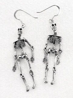 Moveable Sterling Silver SKELETON Earrings