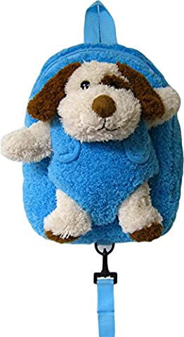 Children's Safety Harness Backpack with Removable Plush Animal (Blue Puppy) - Blue Puppy Plush