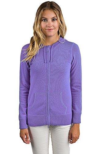 JENNIE LIU Women's 100% Pure Cashmere Long Sleeve Zip Hoodie Sweater (M, Lavender) ()