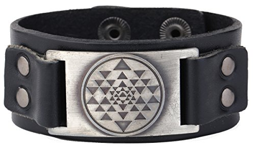 Punk Vintage India Sri Yantra Meditation Metal Connector Cuff Leather Bracelet Amulet Jewelry (black wristband antique silver)