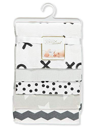 Rene Rofe 5-Pack Flannel Receiving Blankets - White/Black, one ()