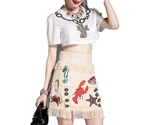 New Fashion Runway Suit Set Women's Summer Tassel Casual Skirt Set,Beige,S