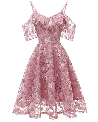 Women's Swing Midi Lace Bridesmaid Dress A line Off The Shoulder Ruffles Dresses Rose Pink M