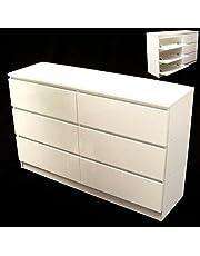 D+L Commode met 6 laden hoogglans dressoir wit dressoir 57048 kast AWZ