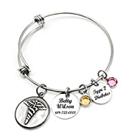 Medical Alert ID Bangle Bracelet, Caduceus, Adjustable Bangle bracelet, Personalized, Customized